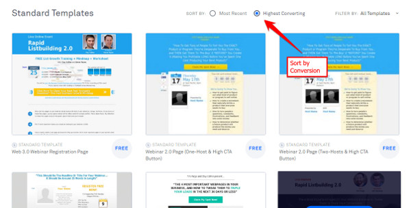 Leadpages Review - Sort by Conversion Rate