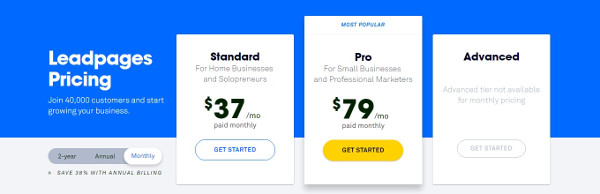 Leadpages Pricing - Monthly
