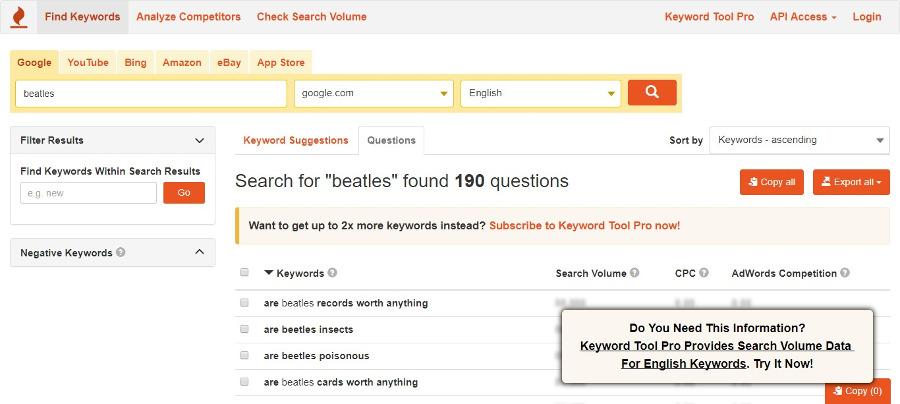 keyword-tool-questions