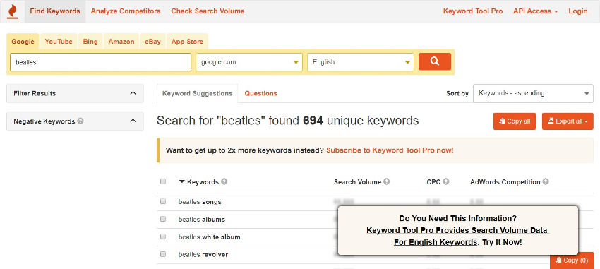keyword-tool-suggestions